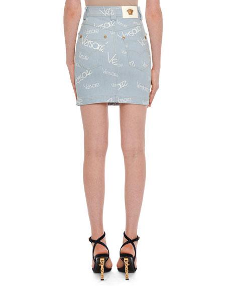 High-Rise Logo-Print Knee-Length Denim Skirt