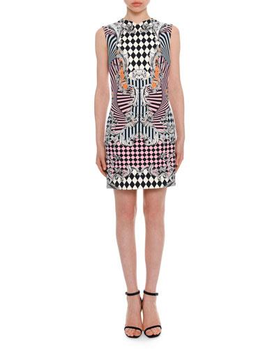 Sleeveless Damask-Print Fitted Dress