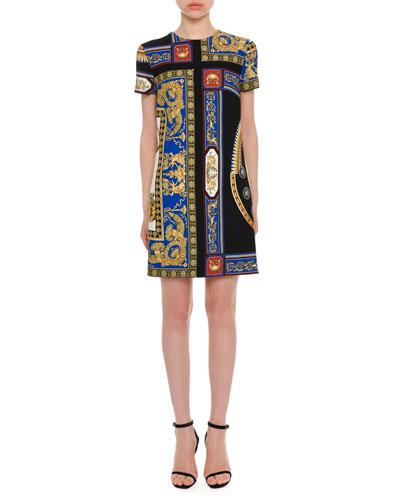 Short-Sleeve Crewneck A-Line Baroque-Print Dress
