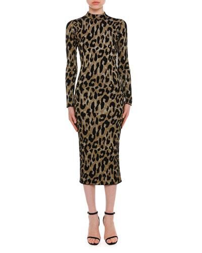 Mock-Neck Long-Sleeve Metallic Leopard-Intarsia Mid-Calf Dress