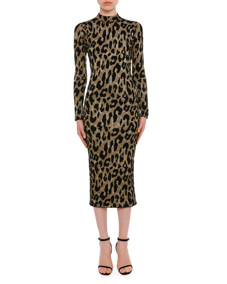 Mock-Neck Long-Sleeve Metallic Leopard-Intarsia Mid-Calf Dress