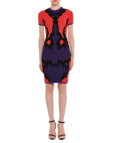 Short-Sleeve Fitted Harlequin-Intarsia Knit Dress