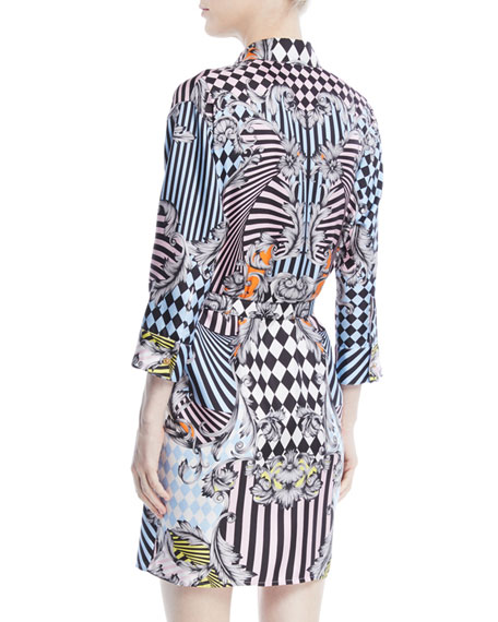Button-Front Long-Sleeve Belted Harlequin-Print Silk Shirtdress