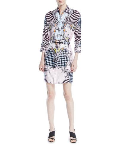 Button-Front Long-Sleeve Belted Harlequin-Print Silk Shirtdress