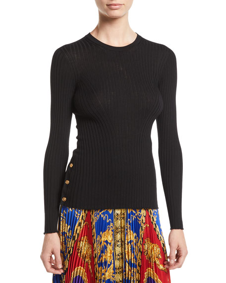 Versace Crewneck Long-Sleeve Ribbed-Knit Top w/ Button Detail
