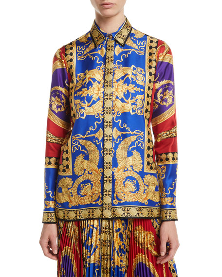 Versace Pillow Talk Archive Print Button-Front Long-Sleeve Silk