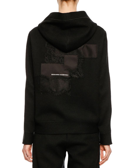 Zip-Front Hooded Wool-Cashmere Jacket w/ Lace Applique on Back