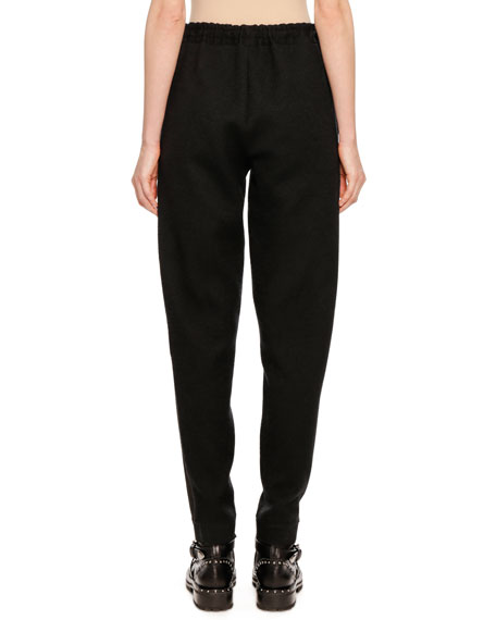 Pull-On Wool-Cashmere Jogger Pants with Side Stripes