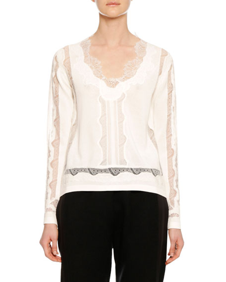Long-Sleeve Lace-Inset V-Neck Sweater