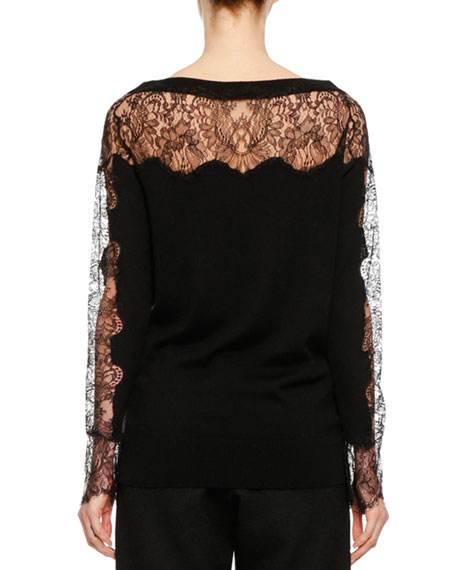 V-Neck Long-Sleeve Lace-Inset Wool Sweater