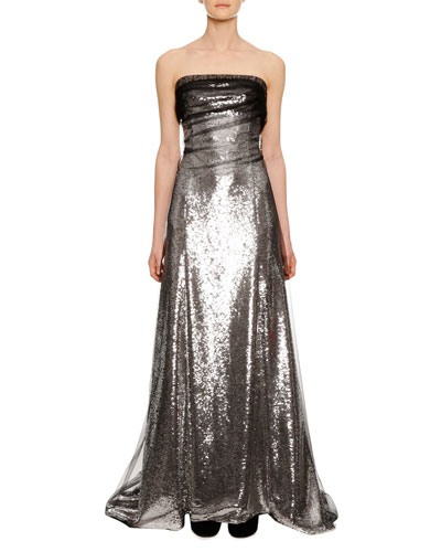 Strapless Sequin Evening Gown with Tulle Overlay Train