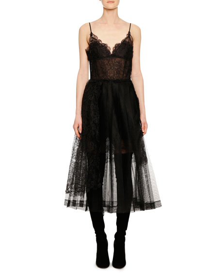 V-Neck Thin-Strap Fit-and-Flare Lace Tulle Mid-Calf Dress