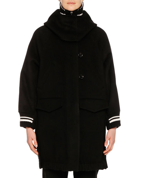 Ermanno Scervino Zip-Front Knee-Length Athletic Collar & Cuff