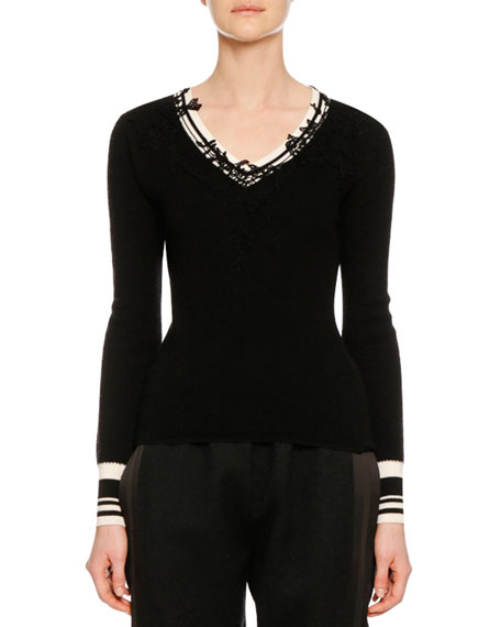 Ermanno Scervino V-Neck Long-Sleeve Wool Sweater w/ Lace