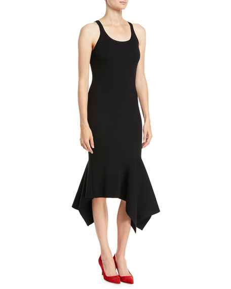 Scoop-Neck Sleeveless Merino Wool Tank Dress w/ Handkerchief Hem