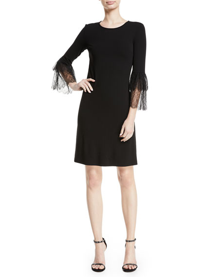 Lace Bell-Sleeve A-Line Stretch Matte Jersey Cocktail Dress