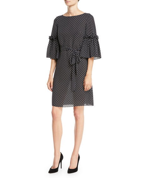Boat-Neck Bell-Sleeve Polka-Dot Silk Georgette Shift Dress
