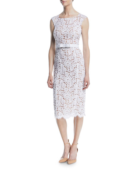 Bateau-Neck Sleeveless Floral Guipure Lace Sheath Dress w/ Belt