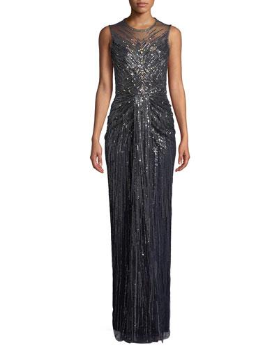 Illusion-Neck Sleeveless Embellished Evening Gown