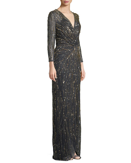 Bracelet-Sleeve V-Neck Column Sequin Evening Gown