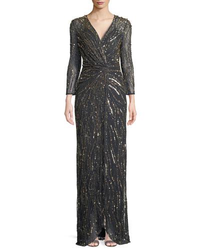Bracelet-Sleeve V-Neck Column Sequin Evening Gown