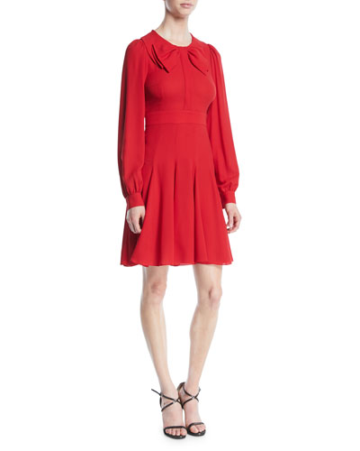 Bow-Front Long-Sleeve Fit-and-Flare Silk Georgette Dress
