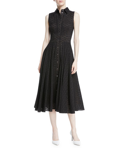 Sleeveless Button-Front Fit-and-Flare Cotton Eyelet Shirtdress