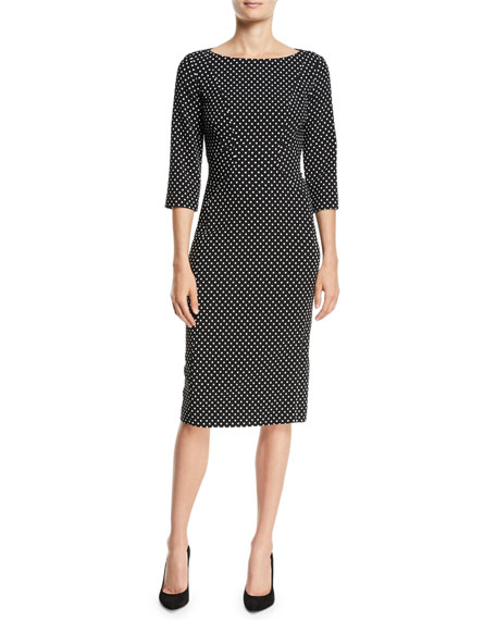 Boat-Neck 3/4-Sleeve Polka-Dot Stretch-Cady Sheath Dress