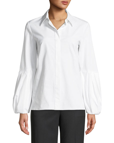 Puff-Sleeve Button-Down Stretch Cotton Poplin Shirt