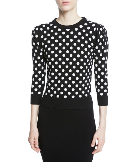 Michael Kors Collection Starlet Dot-Intarsia Cashmere Crewneck