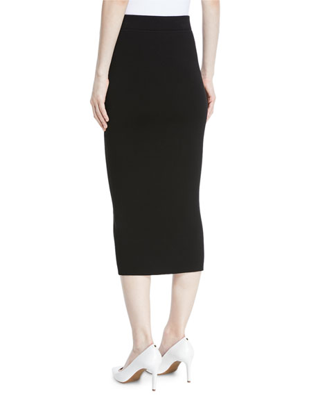 Long Ribbed Cashmere Midi Pencil Skirt