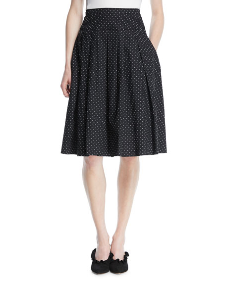 Pindot Stretch-Poplin Pleat Flare Knee-Length Skirt