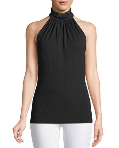 Lace Halter-Neck Stretch-Matte Jersey Top