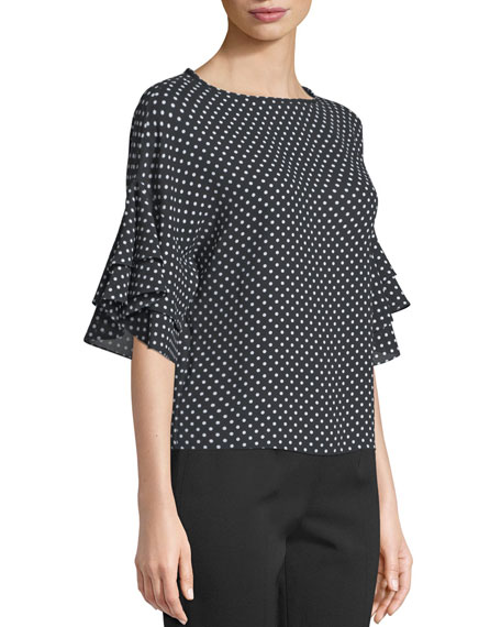 Round-Neck Flutter-Sleeve Polka-Dot Silk Georgette Blouse, Black/White