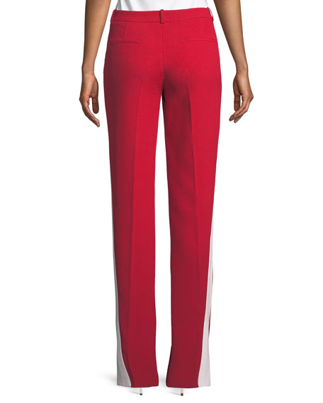Mid-Rise Double-Crepe Sable Straight-Leg Track Pants