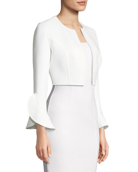 Open-Front Ruffle-Sleeve Stretch-Boucle Cropped Jacket