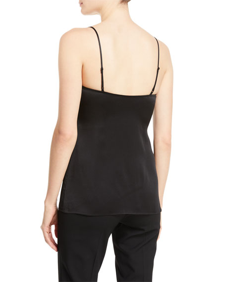 V-Neck Satin Charmeuse Camisole w/ Lace