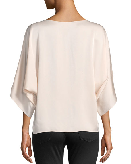 Boat-Neck Satin Charmeuse Top