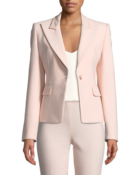 Michael Kors Collection Peak-Lapels One-Button Pebble Crepe