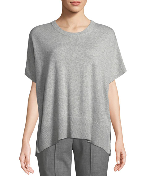 Michael Kors Collection Crewneck Short-Sleeve Melange Draped