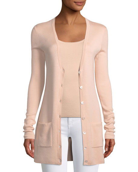 MICHAEL KORS V-Neck Button-Front Tropical Wool/Cashmere Cardigan in Blush