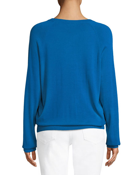 Round-Neck Long-Sleeve Merino/Cashmere Pullover