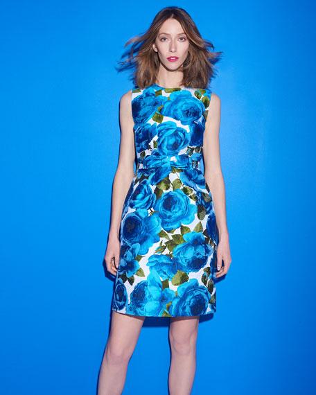 Sleeveless Rose-Jacquard Bow-Belt A-Line Dress