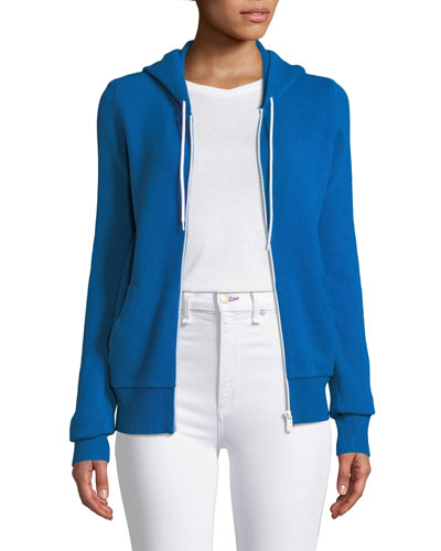 Zip-Front Cashmere/Cotton Hoodie Jacket