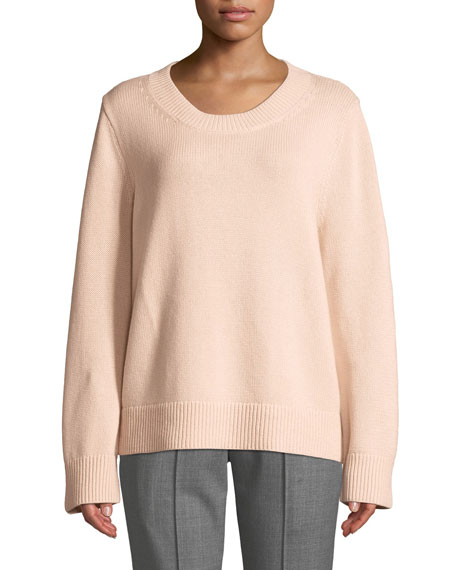 Michael Kors Collection Crewneck Long-Sleeve Cashmere-Cotton Sweater