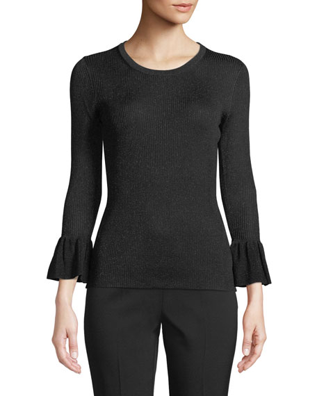 Jewel-Neck Flounce-Cuff Fitted Metallic-Knit Sweater