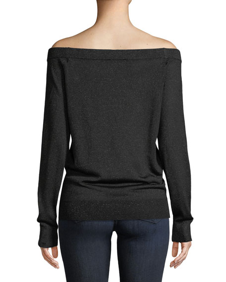 Off-the-Shoulder Long-Sleeve Metallic-Knit Pullover Sweater