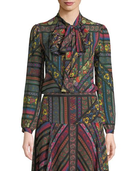 Ribbon-Print Silk Georgette Jabot Blouse