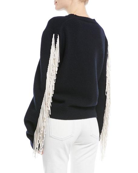 Crewneck Long-Sleeve Virgin-Wool Sweater w/ Fringe Detail