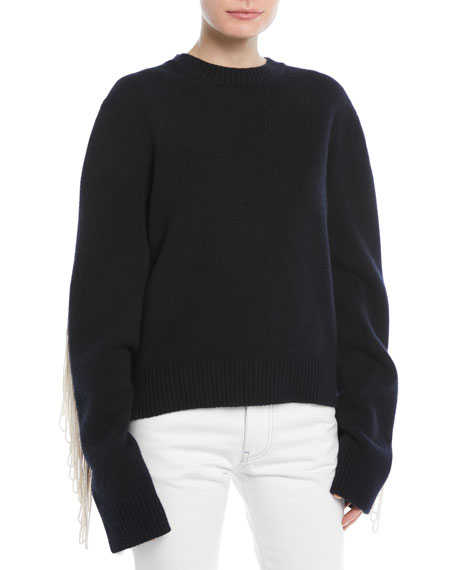 CALVIN KLEIN 205W39NYC Crewneck Long-Sleeve Virgin-Wool Sweater